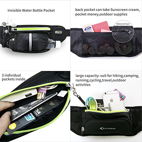 Fanny Pack MYCARBON Waist Pack with Water Bottle Holder,Waterproof Running Belt for Men Women,Fits IPhone 8Plus Galaxy S8 Note 8,Reflective Hydration Belt for Running Hiking Travelling-Black Fanny Bag by MYCARBON (Image #6)