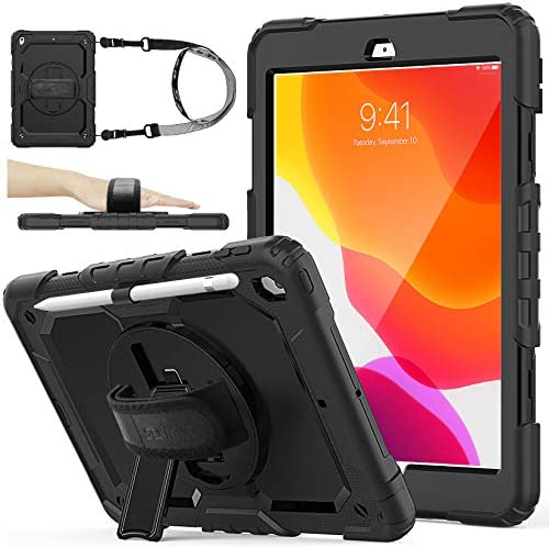 SEYMAC stock Case Compatible with iPad 8th/7th Generation 10.2 inch 2020/2019 (Black)