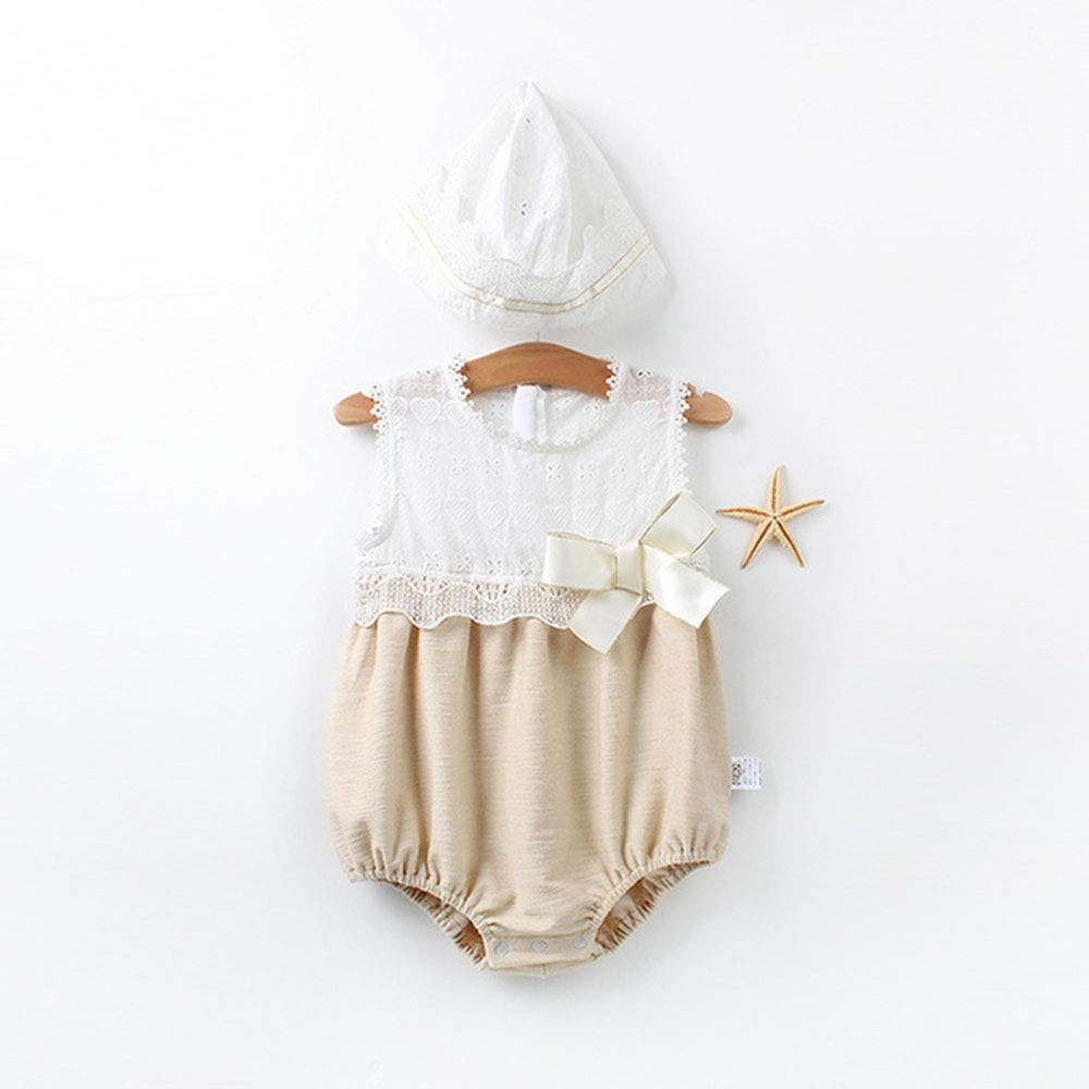 Baby Girls Cotton Bodysuits Sleeveless Romper Set/ with Hat
