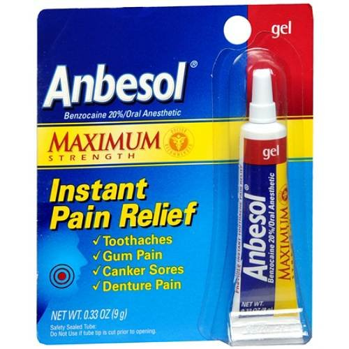 Anbesol Force maximale Oral Gel anesthésique 0,33 oz (9 g)