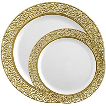 Posh Setting Lace Collection Combo Pack China Like White and Gold Lace Rim Plastic Plates (  sc 1 st  Amazon.com & Amazon.com: Posh Setting Lace Collection Combo Pack China Like White ...