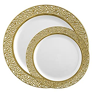 posh setting lace collection combo pack china look whitegold plastic plates includes 8 packs of 10 plates 40 dinner plates and 40 salad