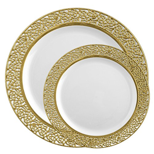 Posh Setting Lace Collection Combo Pack China Like White and Gold Lace Rim Plastic Plates (Includes 40 10.25'' Dinner Plates and 40 7.25'' Salad Plates) Fancy Disposable (Yellow Rose Dinner Plate)