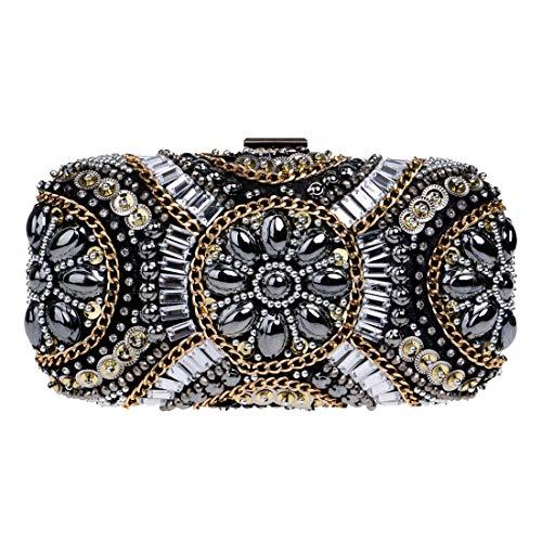 de banquet Luckywe Perlée Main Sacs Sacs Mariage Pochette Mode à Mode Embrayages Soirée Femmes Noir W118qn0g