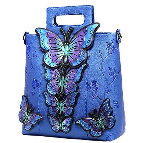 Pintados Animales Hombro Grande De Bolsa Bordado De Mariposa De La Mujeres Azul De Cuero Las Nuevas twxI00qfRn