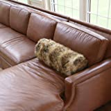 Best Home Fashion Amber Fox Luxury Long Hair Faux Fur Bolster Pillow 9
