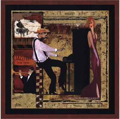 Poster Palooza Framed Jazz Piano- 22x22 Inches - Art Print (Walnut Brown Frame)