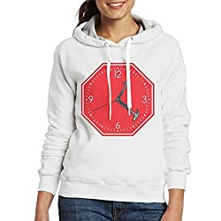 SmallTing Womens Stop Hammer Time Sign Clock Classic Jogging White Hoodies L