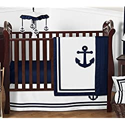 Anchors Away Nautical Navy and White Boys Baby Bedding 4 Piece Crib Set Without Bumper