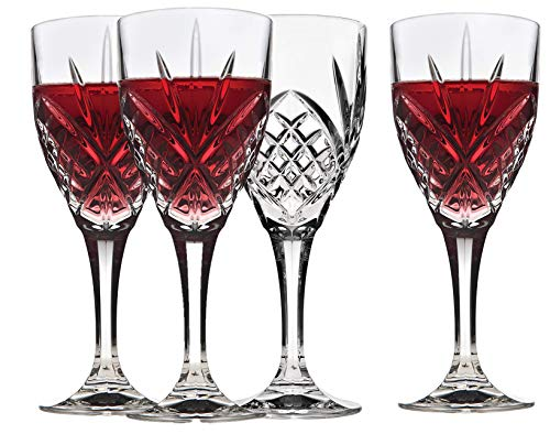 Italian Crystal Wine Glasses, Set of 4-9 Ounce Wine Goblets - Cordial Glasses Perfect for Any Occasion, Great Gift, Premium Quality Red Wine Glass Set
