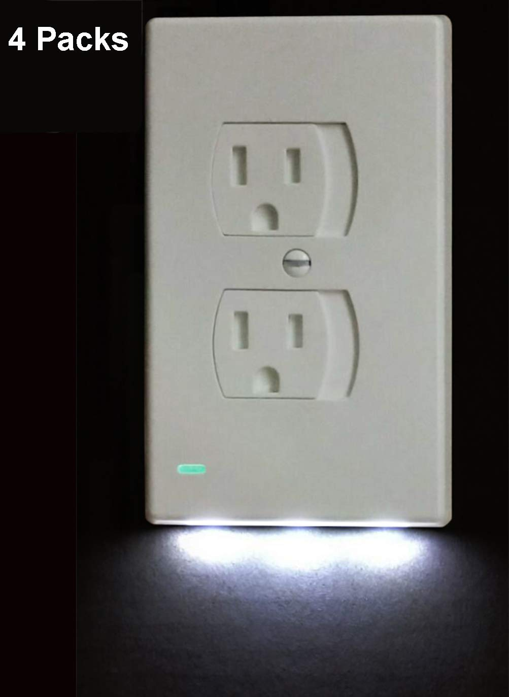 4 Pack Baby Proof Outlet Covers Self Closing with Night Light (Duplex, White) - by Warmword