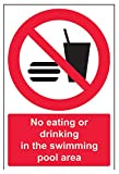 VSafety No Eating Or Drinking In The Swimming Pool Area Prohibition Sign - Portrait - 200mm x 300mm - Self Adhesive Vinyl