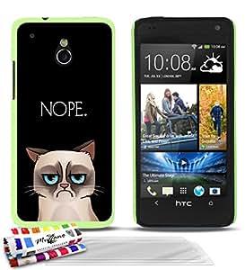 """Carcasa Rigida Ultra-Slim HTC ONE MINI de exclusivo motivo [Nope.] [Verde] de MUZZANO  + 3 Pelliculas de Pantalla """"UltraClear"""" + ESTILETE y PAÑO MUZZANO REGALADOS - La Protección Antigolpes ULTIMA, ELEGANTE Y DURADERA para su HTC ONE MINI"""