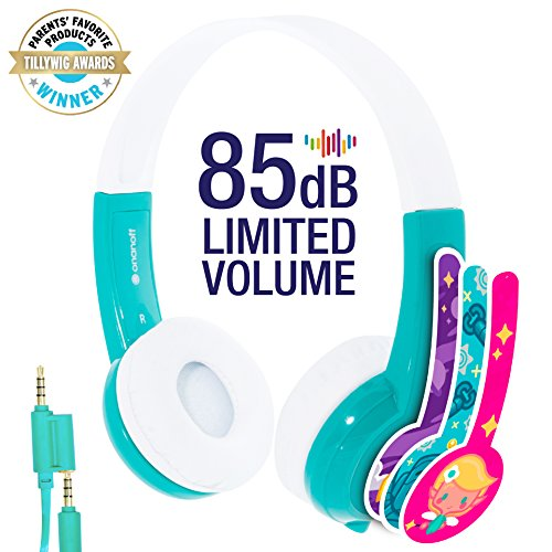 Explore Volume Limiting Kids Headphones - Durable, Comfortable & Customizable - Built in Headphone Splitter and In Line Mic - For iPad, Kindle, Computers and Tablets - Green