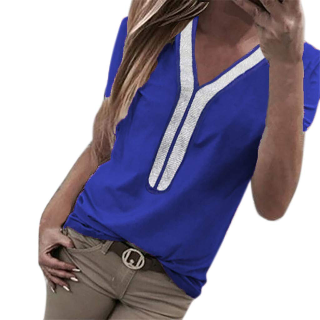 KESEELY Fashion Casual Shirt - Womens Sexy Sequins Short Sleeve V-Neck Tops T-Shirt
