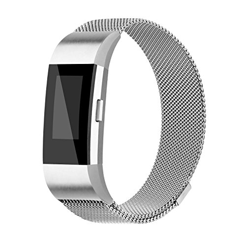 iGK Milanese Replacement Bands Compatible for Fitbit Charge 2, Stainless Steel Metal Bracelet with Unique Magnet Clasp Silver Small