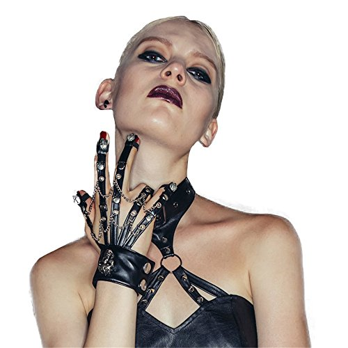 Steampunk Skeleton Leather Gloves Women Hand Claw Cosplay Fingerless Gloves