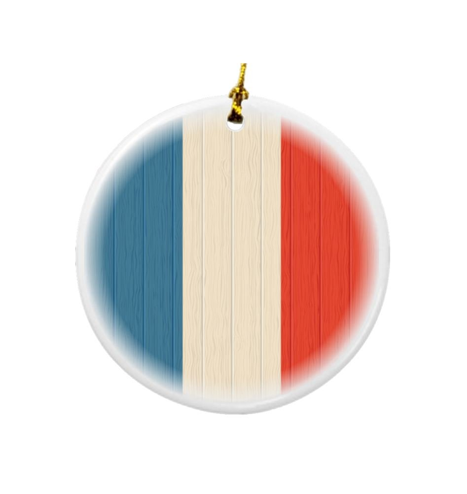 Rikki Knight Saint Martin Flag on Distressed Wood Design Round Porcelain Two-Sided Christmas Ornaments
