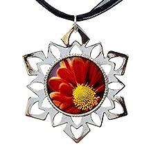 GiftJewelryShop Orange Daisy Hexagonal Snowflake Pendant Charm Necklaces