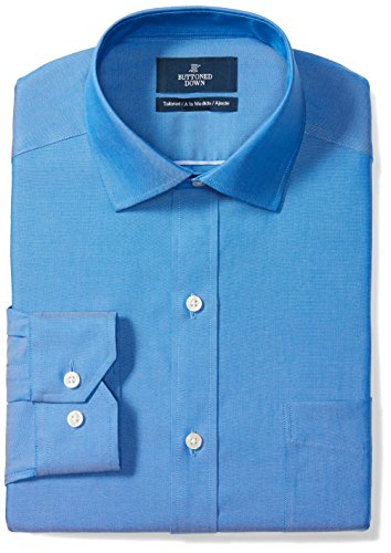 (BUTTONED DOWN Men's Tailored Fit Spread-Collar Solid Non-Iron Dress Shirt (Pocket), French Blue, 18