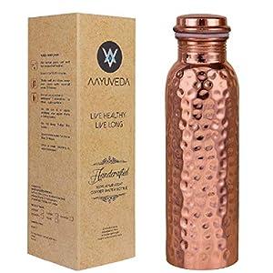 AAYUVEDA Copper Water Bottle, 1L, Set of 1, Copper