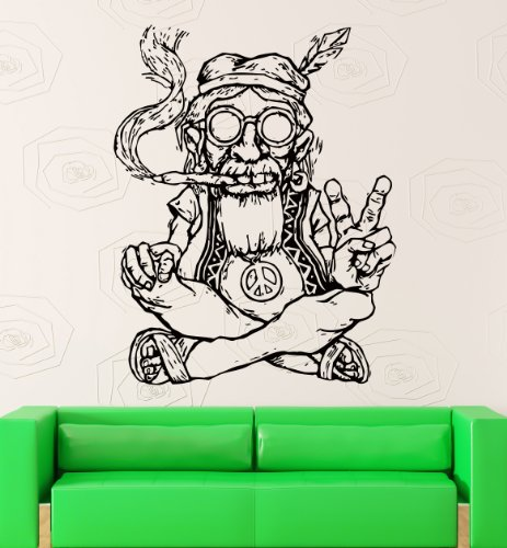 Vinyl Decal Wall Sticker Hippie In Glasses Smoking Weed