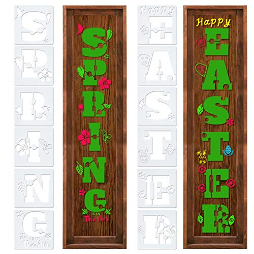 Easter Sign Stencil for Painting Wood Make Your Own Spring Porch Sign - 12 PCS Individual Stencils for DIY Spring Easter Sign