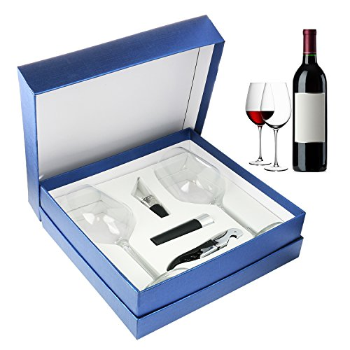 Zalik Wine Glasses Gift Set – Set Of 2 Wine Glasses, Wine Opener, Wine Stopper And Wine Aerator Pourer For Enhanced Flavor – Perfect Gift For Every Occasion - Wine Accessories - Elegant Gift (Glass Corkscrew)