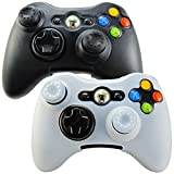 Pandaren Soft Silicone Skin for Xbox 360 Controller Set(Skin X 2 + Thumb Grip X 4)(Black,White) For Sale