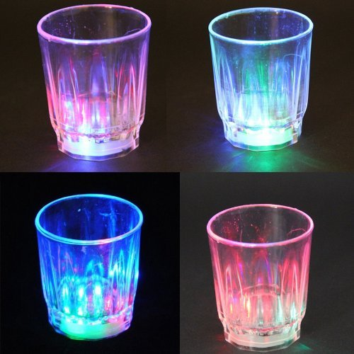 24PCS Amazing Non-toxic Plastic Colorful Flashing Light UP LED Cups Shots Glass for Bar Party Holloween Christmas Romantic Drinking