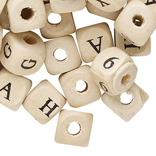 Bead mix wood (coated) 10mm rounded cube with mixed alphabet letters/numbers and 2.7mm (Rounded Letter Beads)