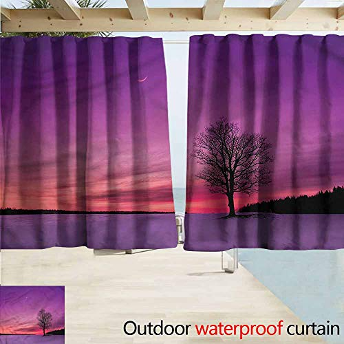 MaryMunger Rod Pocket Top Blackout Curtains/Drapes Night Sky Idyllic Sunset in Field Outdoor Privacy Porch Curtains W55x39L Inches