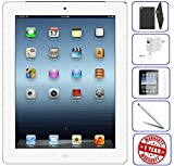 Apple iPad 4 16GB - 32GB - 64GB - Wifi - Black 4th Generation | Bundle Includes: Case - Tempered Glass - Stylus Pen - 1 Year Warranty (16 - White) (Refurbished)