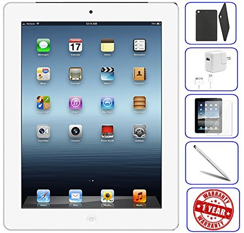 Apple iPad 2 Tablet 16GB, 32GB, 64GB - Wifi, Black 2nd Generation | Bundle Includes: Case, Tempered Glass, Stylus Pen, 1 Year Warranty (16GB, White) (Refurbished)