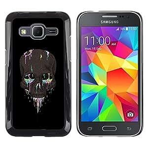 LECELL--Funda protectora / Cubierta / Piel For Samsung Galaxy Core Prime SM-G360 -- Black Colorful Candy Skull Black Death --