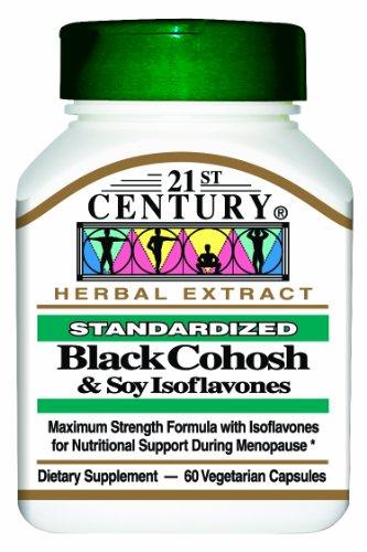 21e siècle Actée à grappes noires avec des isoflavones de soja Veg-capsules, 60-Count