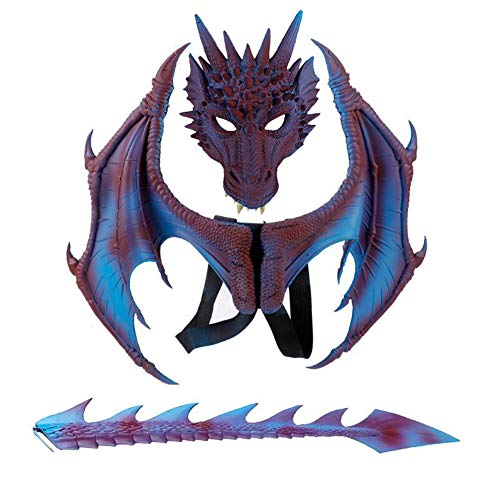 H&ZY Kids Fantasy Halloween Dinosaurio Dragon Costume Child Animal Mask Wing Tail Accessory