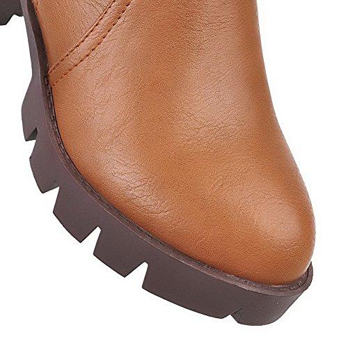 AllhqFashion Womens Zipper Kitten-Heels PU Solid Low-Top Boots Yellow nlNdBAl3G
