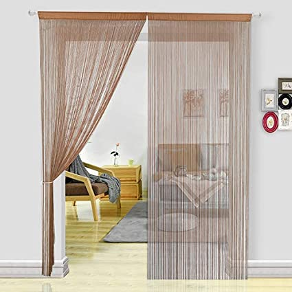 Hsylym Spaghetti String Curtains Fly Screens Curtains For Doors Doorways Windows Treatments And Home Decor 90x245cm Coffee Amazon Co Uk Kitchen Home