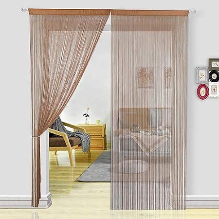 HSYLYM cortina espagueti para Puerta,divisor de habitación,decoración del hogar,poliéster,café,90x200cm