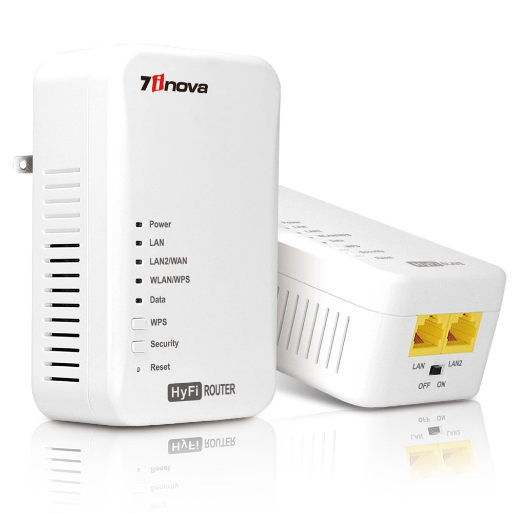 7inova™7WHP550KIT HyFi Wirless Smart Network Start Kit(Wireless Powerline Router Master/Add-On Slave with Plug and Play)