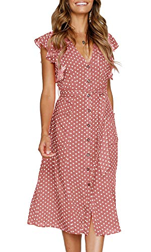 MITILLY Women's Summer Boho Polka Dot Sleeveless V Neck Swing Midi Dress with Pockets X-Large Pink