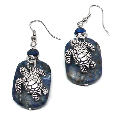 Pewter Turtle Lapis Lazuli Earrings