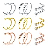 D.Bella Septum Hoop Rings, 20G 8mm 316L Stainless Steel Nose Septum Ring for Body Piercing Jewelry