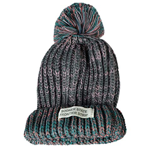 Gallity Women Knitte Warm Winter Outdoor Hairball Retro Knitted Beanie Cap Hat (Gray)