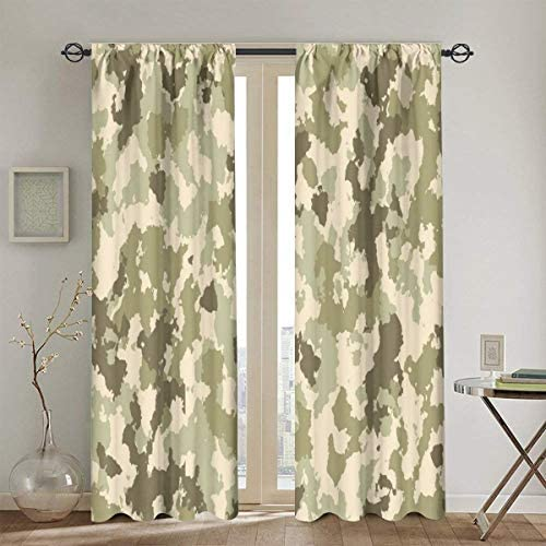 カーテン 遮光,昔ながらの迷彩パターンの古典的なジャングルのサバイバルテーマ,断熱,昼夜目隠し,2枚組130cm X 180cm