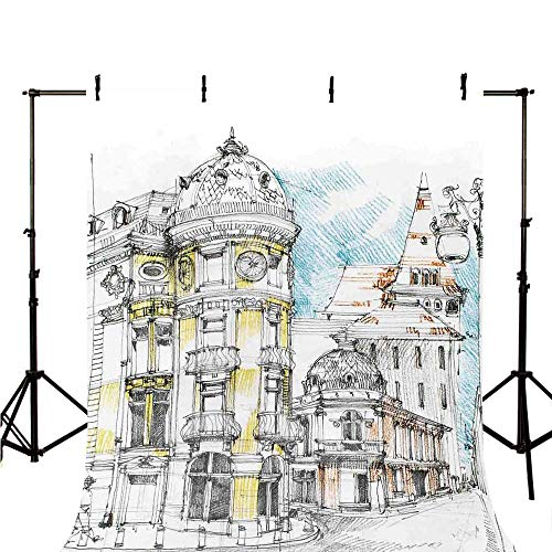(Medieval Decor Stylish Backdrop,Pale Sketch Design of Middle Age Renaissance Building in European Old Town Cityscape for Photography,118