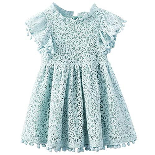 QIJOVO Baby Girl Vintage Lace Short Frill Sleeves Dress Flower Girls Skirt Birthday Party Princess Frilled Waist -
