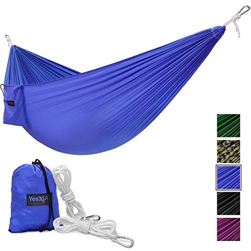 Yes4All Lightweight Double Camping Hammock with Carry Bag – Nylon Parachute Hammock / Lightweight Portable Hammock for Camping, Hiking (Blue)