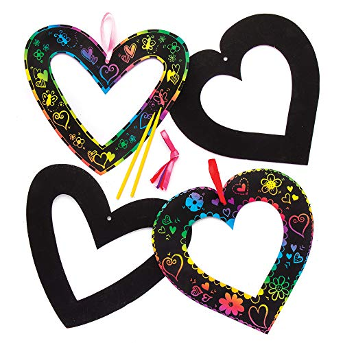 Baker Ross Heart Scratch Art Wreaths (Pack of 8) for Kids to Make and Display for Mother's Day / Valentine's Day ()